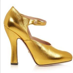 New Gucci Women Gold Lesley Pumps 100%Authentic